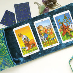 Blue Velvet Tarot Bag and Reading Cloth - Lenormand Card Holder