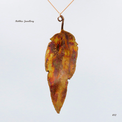 Genuine eucalyptus leaf - copper plated - pendant necklace