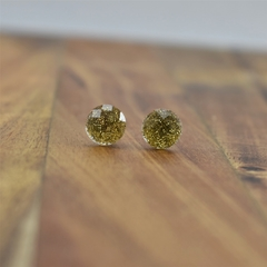 Stud Earrings - gold/silver glitter