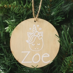 Wooden Unicorn Christmas bauble -personalised