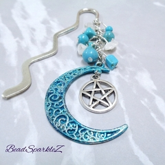 Blue Moon and Pentagram Bookmark