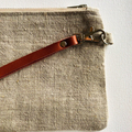 Linen and leather wristlet, 100% linen clutch, detachable genuine leather strap,