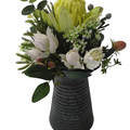Artificial Green & White Native Flower Arrangement in Metal Jug