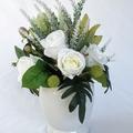 Flower Arrangement - White Silk Roses with Native Flowers in White Ceramic Vase