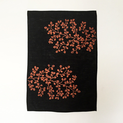 Tasmania's own 'Fagus' screen printed 100% linen tea towel (copper on black)