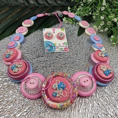 Carnival of Flowers - Button Necklace - Earrings