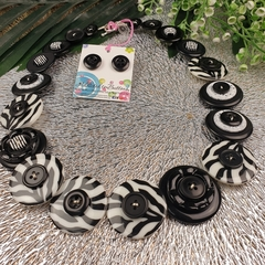 Zebra Stripes - Black white- Button Necklace - Earrings