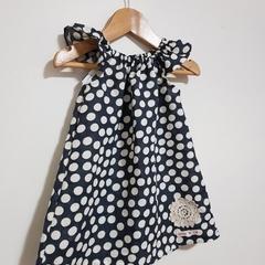 Girls Navy & Cream Spot Linen Dress Size 6