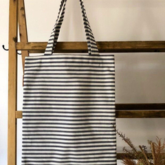 Tote & clutch set, navy stripe,linen mustard lining, heavy Indian cotton, canvas
