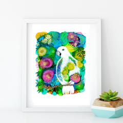 'Garden Visitor' A4 Reproduction Art Print of original mixed media painting.
