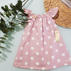 Girls Pink and White Spot Flutter Sleeve Dress 
