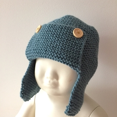 6 - 12 mths Baby , FREE POST Earflap Aviator Beanie Hat , Blue   Wool  Hand Knit