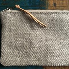 Wristlet, Pure Linen Clutch, Quality Linen and Leather Bag, Zipper Pouch, Leathe