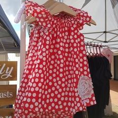 Girls Red Linen Flutter Sleeve Dress  Size 1, 3 and 5