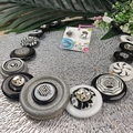 Silver Black white- Button Necklace - Earrings