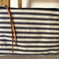 Tote & clutch set, navy stripe,linen mustard lining, heavy Indian cotton, canvas