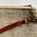 Linen wristlet, 100% linen zipper pouch, leather strap, silver, fully lined zip