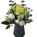 Artificial Green & White Native Flower Arrangement in Metal Jug - Mothers Day