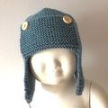 6 - 12 mths Baby , FREE POST Earflap Aviator Beanie Hat , Blue   Wool  Hand Knit