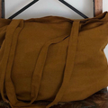 TotallyAU Mustard linen tote bag, 100% linen shopper, weekend bag, casual, boho,
