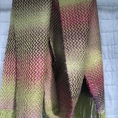 Handwoven Scarf, Wool / Acrylic blend, Multi-tonal shades of Green/Burgundy