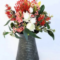 Flower Arrangement Artificial Red Native Flowers in Vintage Jug