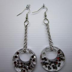 resin confetti earrings