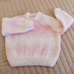 3-9mths - Hand knitted jumper, easy wash,  OOAK,