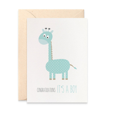 Baby Boy Card - Blue Giraffe - BBYBOY039