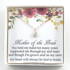 Mother of the Bride Gift, Mother Of The Bride Necklace, Mother Gift,Rose Gold So