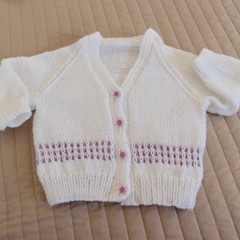 Size 6-12 months hand knitted cardigan;  girl,  easy washable,