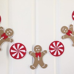 Christmas Gingerbread Man Garland. Peppermint candy Xmas decor. Photo prop.
