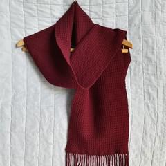 Merino Wool Scarf, Burgundy, Handwoven