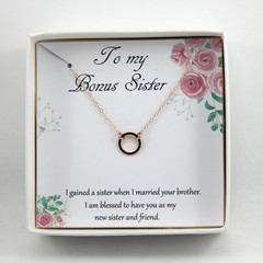Bonus Sister Gift Necklace, Rose Gold Dainty Eternity Necklace,Another Sister,Un