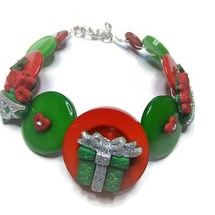 Christmas button Bracelet - Green Gift