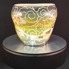 Koi scraffito ceramic bowl