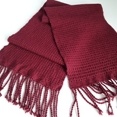 Pure Wool Unisex Scarf, Burgundy, Handwoven