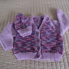 SIZE 2 - 3 years; knitted cardigan and co-ordinated beanie, washable,