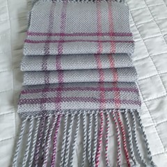 Pure Wool Scarf,  Handwoven, Long, Grey