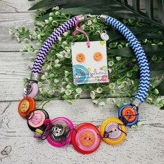 Colourful Twist - Button Fusion Necklace - Button Jewellery - Earrings
