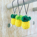 Pineapple Crochet Keychains - Set of 3, Kawaii Planner Charm - FREE SHIPPING