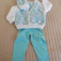 SIZE 1-2 years: Hand knitted cardigan & beanie : easy wash, unisex