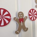 Christmas Gingerbread Man Garland. Peppermint candy Xmas decor. Photo prop.
