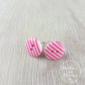Pink Stripes - Two Hole Button - Stud Earrings