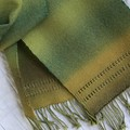 Handwoven Scarf, Wool / Acrylic, Long, Olive Green/Gold