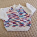 Size 6-12 months hand knitted jumper; unisex easy wash,