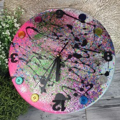 Tick Tock - Neon Pink Sparkle Buttons Resin clock - silent motion
