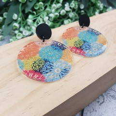 Blooming Daisy -  Dangle Earrings - Acrylic - Rainbow