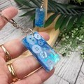 Keyring - Blue Teal Sparkle Buttons - Bag Tag - Luggage Identifier - Rectangle