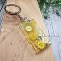 Keyring - Yellow Gold Sparkle Buttons - Bag Tag - Luggage Identifier - Rectangle